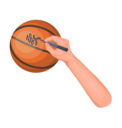 autograph on a basket ballbasketball single icon vector image