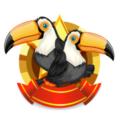 Banner design with two toucan birds vector