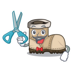 Barber working boots isolated on the mascot vector