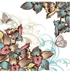 Beautiful floral background with orchids vector