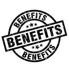 benefits round grunge black stamp vector image