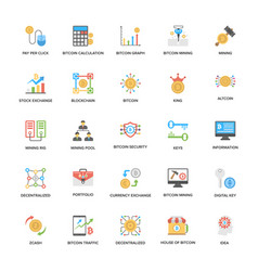 Bitcoin and cryptocurrency flat icons collection vector
