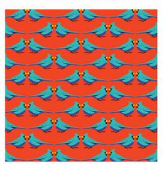 Blue bird with orange background pattern vector