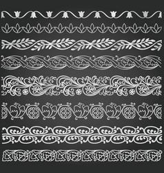 Border lines ornamental vinage set vector