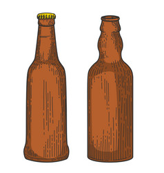 bottles beer in engraving style design element vector image