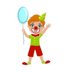 Boy in clown costume part kids at birthday vector
