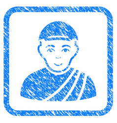 Buddhist monk framed stamp vector