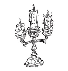 Candlestick on three candles vintage household vector