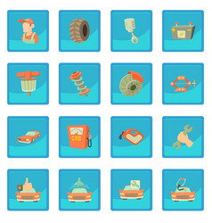 Car repair items icon blue app vector