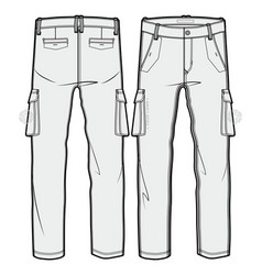Cargo pants with large side pockets vector