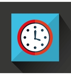 Cartoon clock time with shadow and green vector