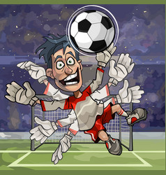 Cartoon goalkeeper catches the ball with numerous vector