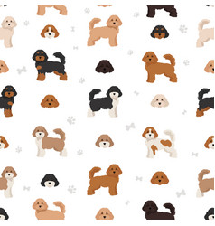 Cavapoo mix breed seamless pattern different vector