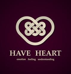 celtic heart symbol design template vector image