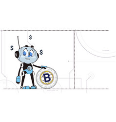 chatbot hold bitcoin robots and crypto currency vector image
