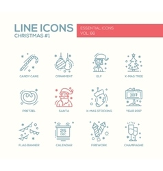 Christmas and new year - simple line design icons vector