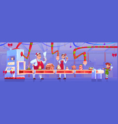 christmas factory with candy and santa helpers vector image