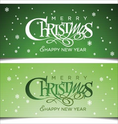 Christmas green greeting card vector image