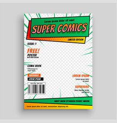 Comic book cover layout template vector