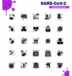corona virus disease 25 solid glyph icon pack vector image