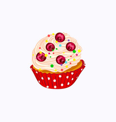 Cupcake with whipped cream and red berry vector