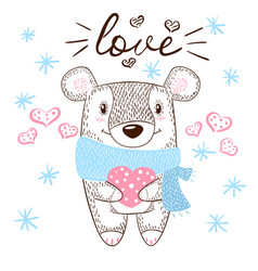 cute bear huge hugs love and heart vector image