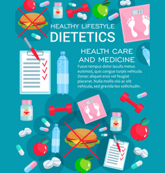 Dietetics medicine with diet nutrition items vector