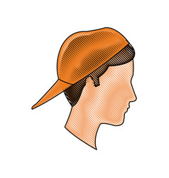 drawing profile head young boy orange cap vector image