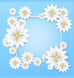 floral background white paper flowers frame vector image