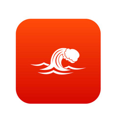 Foamy wave icon digital red vector