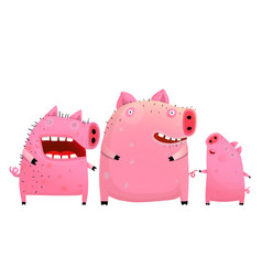fun pig family father mother and son vector image