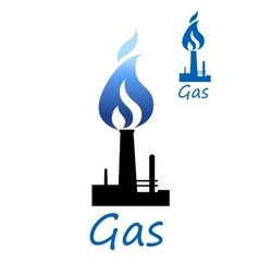 Gas symbol with pipe and blue flame vector