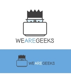 Geek logotype Modern outline computer nerd vector