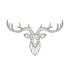 geometric deer head abstract animal low poly vector image