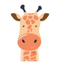 giraffe cute animal baface vector image