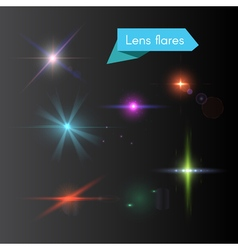 Glowing colorful flash elements vector image