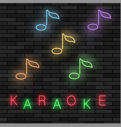 glowing light karaoke musical logo with notes vector image