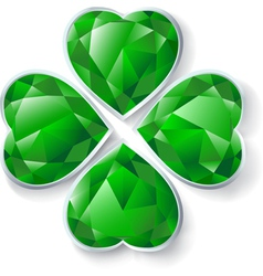 green diamond four leaves clover vector image