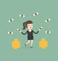 happy businesswoman throwing money up vector image