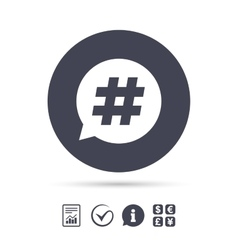 Hashtag speech bubble sign icon vector