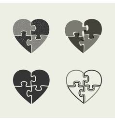 Hearts icons with puzzle vector