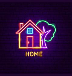 home neon label vector image