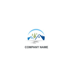 house villa mountain company logo vector image