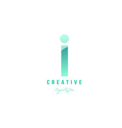 I green pastel gradient alphabet letter logo icon vector