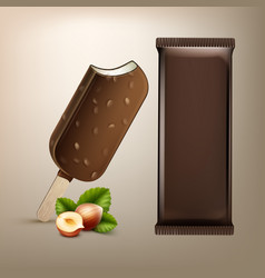 Ice cream in chocolate glaze with nuts on stick vector