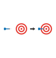 icon concept of bulls eye with dart in the center vector image