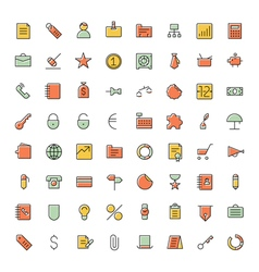 Icons thin blue business vector