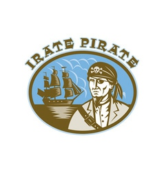 Irate Pirate with sailing tall ship vector image