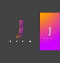 j letter logo technology connected dots letter vector image
