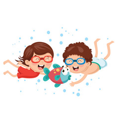 kids with fish vector image